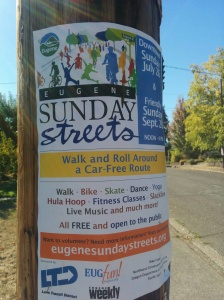 """Loving Eugene, where yoga, hula hooping, and slacklining are featured at a community, """"car-free"""" event."""
