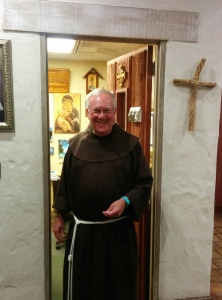 Fr. Larry in front of his office at the Santa Barbara Mission. He's a Franciscan friar.