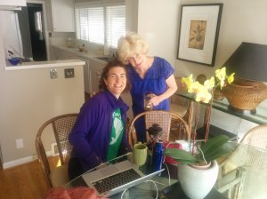 Monday morning and we're working! I'm at my freelance office in Seattle with my hostess, Mom.