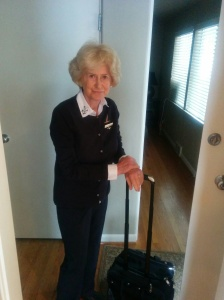 My mom is a flight attendant and she's cute as a button. This was her heading off to work on yesterday.