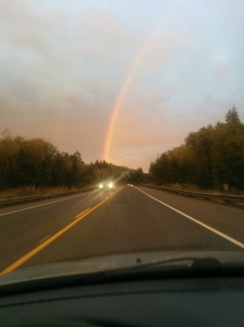 I drove under a beautiful, tall rainbow leaving Astoria. I was under it for nearly 20 minutes. I could see both ends and counted it as a good omen for my journey and beyond.