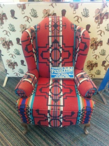 A chair upholstered in famous Pendleton wool.
