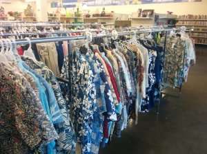"Every Goodwill in Hawaii has an entire rack of ""Aloha shirts."""
