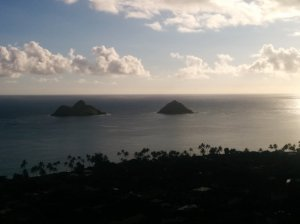 "A view of the Mokulua Islands or ""mokes"" from my first hike on Oahu."