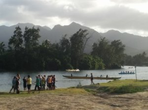 Paddlers near Kailua Beach. It's a beautiful, spiritual sport.