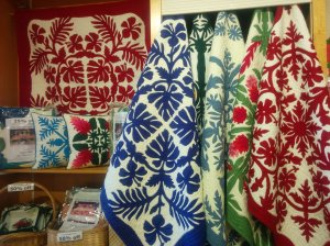 I loved these Hawaiian-style quilts for sale at the Dole Plantation.